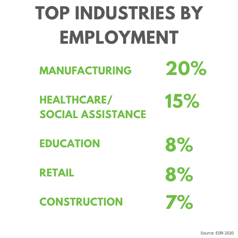 Jefferson County's top industries by employment: Manufacturing is 20%, healthcare/social assistance is 15%, education is 8%, retail is 8% and construction is 7%